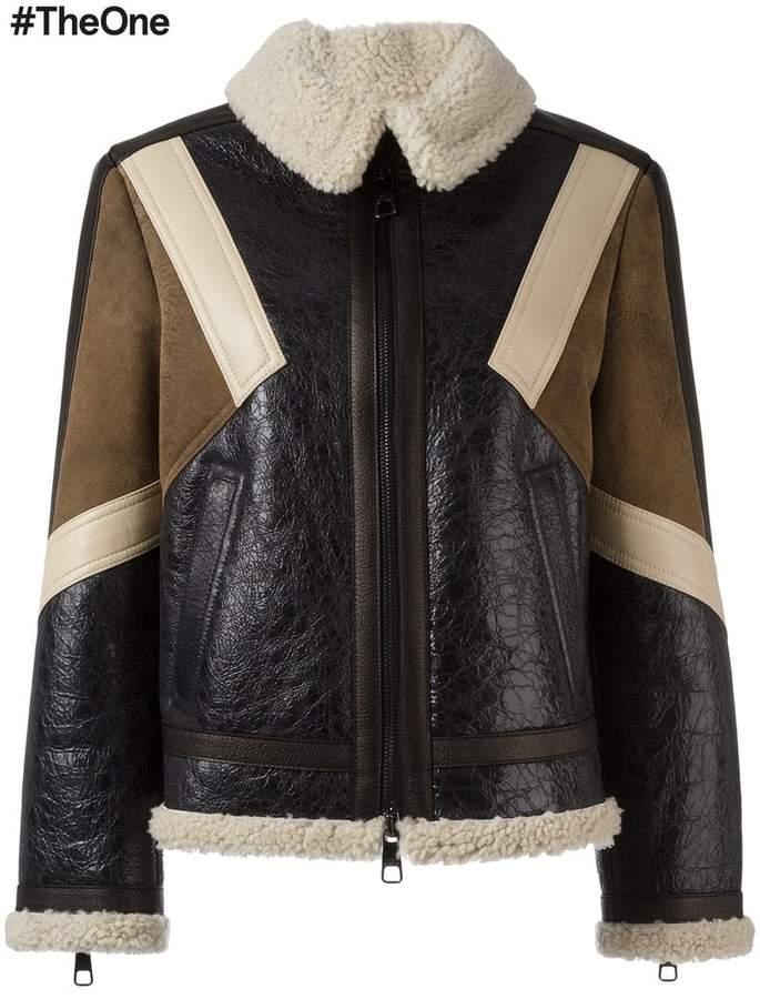 Neil Barrett panelled leather jacket