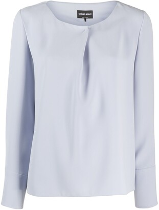 Giorgio Armani Pleated Detail Long-Sleeved Blouse