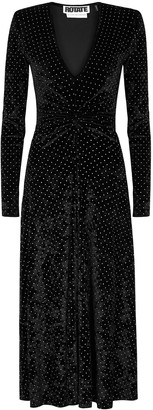 Rotate by Birger Christensen Lily studded stretch-velvet midi dress