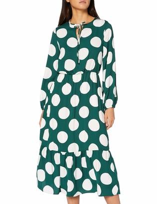 Dorothy Perkins Women's Green Spot Smock Midi Dress Casual 6