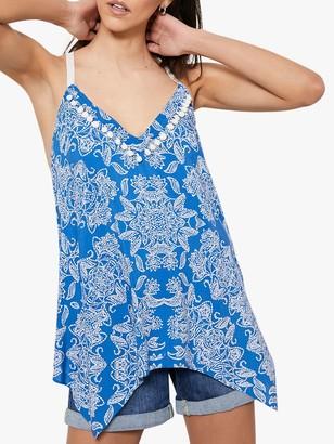 Mint Velvet Lucille Abstract Print Handkerchief Hem Cami Top, Blue/Multi