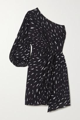 IRO Akubra One-sleeve Gathered Printed Crepe Mini Dress