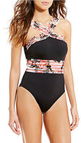 Kenneth Cole New York Sweet Sakura High Neck Illusion Trim Tummy Toner One-Piece