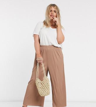 ASOS DESIGN Curve plisse culotte trousers in brown