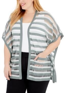 Belldini Plus Size Sheer-Stripe Cardigan