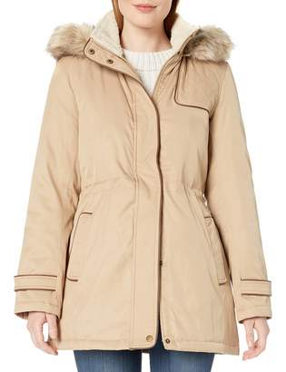 Larry Levine Women's Hooded Parka Anorack with Sherpa