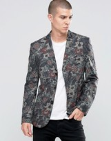 Asos Slim Blazer In Flower Camo Print