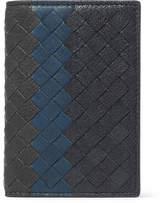 Bottega Veneta Intrecciato Pebble-grain Leather Bifold Cardholder - Navy