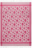 Alexander McQueen Grey and Pink Skull Blanket Scarf