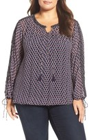 Lucky Brand Plus Size Women's Embellished Chiffon Blouse