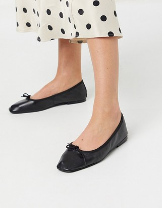 ASOS DESIGN Layer leather bow ballet flats in black