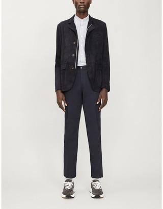 Eleventy Slim-fit suede jacket