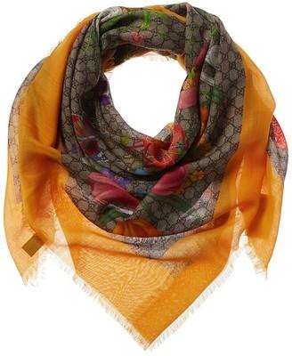 Gucci Gg Flora Print Wool & Silk-Blend Scarf