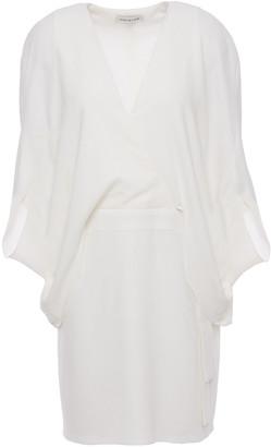 Halston Wrap-effect Cape-back Stretch-crepe Mini Dress