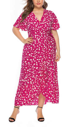 Belle De Jour Belle de Jour Women's Maxi Dresses red - Red Floral Ruffle Maxi Wrap Dress - Women & Plus
