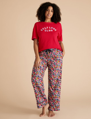 Marks and Spencer Pure Cotton Floral Print Pyjama Bottoms