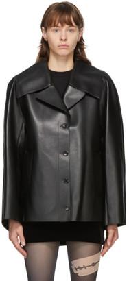 we11done Black Faux-Leather Raglan Sleeve Jacket