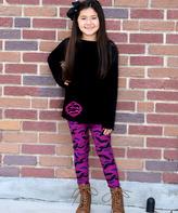 Beary Basics Black & Purple Bat Tunic & Leggings - Toddler & Girls
