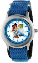 Disney Kids' W000383 Jake Stainless Steel Time Teacher Blue Velcro Strap Watch