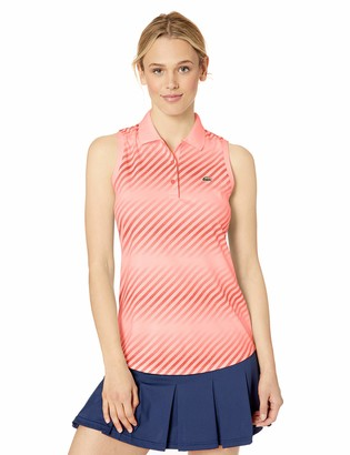 Lacoste Women's Sleeveless Ultra Dry Printed Tennis Polo Shirt Bagatelle Pink Mango Tree red 8