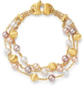Marco Bicego 18K Yellow Gold Africa Pearl Multicolor Cultured Freshwater Pearl Multi-Strand Bracelet