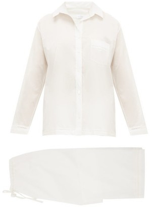 POUR LES FEMMES Lace-trimmed Cotton Pyjamas - White