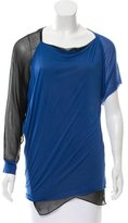Yigal Azrouel Silk-Trimmed Colorblock Top