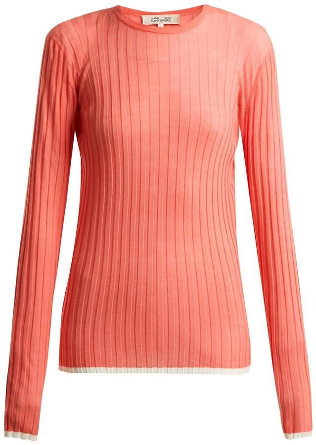 Diane von Furstenberg Contrasting-trim ribbed-knit wool-blend top
