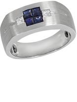 Effy Jewelry Gento White Gold Blue Sapphire & Diamond Ring, .96 TCW