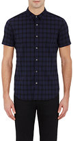 Theory MEN'S PLAID POPLIN SHORT-SLEEVE SHIRT-BLACK SIZE XS