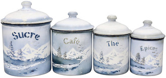 One Kings Lane Vintage French Alps Souvenir Kitchen Canisters - Rose Victoria
