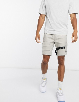 ASOS DESIGN skinny shorts with strapping