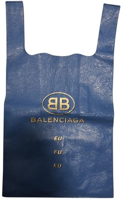 Balenciaga Market Shopper Blue Leather Handbags