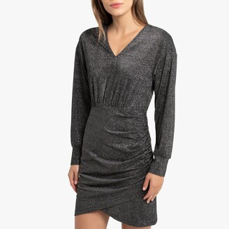 La Redoute Collections Short Draped Glitter Dress with Long Sleeves