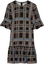 Markus Lupfer Plaid Stretch-crepe Dress - Black