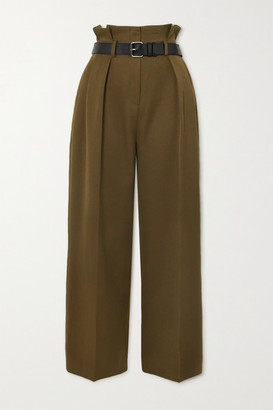 Frankie Shop Belted Pleated Twill Tapered Pants - Army green