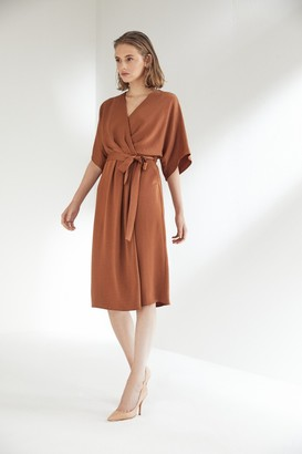 Explosion London Camel Wrap Midi Dress with Kimono Sleeves