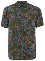 Topman Mens Khaki Paisley Short Sleeve Shirt
