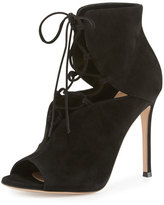 Gianvito Rossi Julia Suede Cutout Lace-Up 105mm Bootie, Black