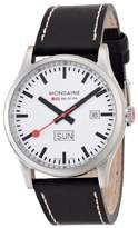 Mondaine Men's Quartz Watch with White Dial Analogue Display and Black Leather Strap A667.30308.16SBB