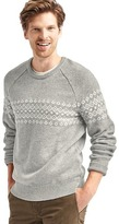 Merino wool blend fair isle crew sweater