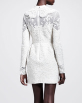 Valentino Long-Sleeve Embroidered Wool Dress