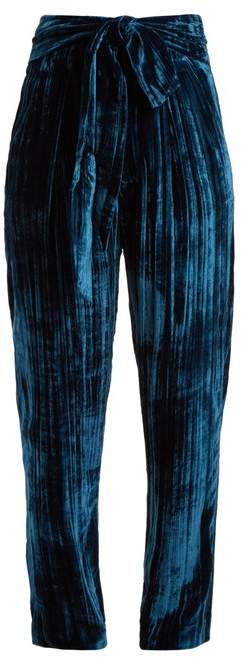 Masscob Tie-waist tapered-leg crinkle-velvet trousers