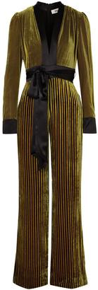 Diane von Furstenberg Satin-trimmed Striped Devore-velvet Jumpsuit