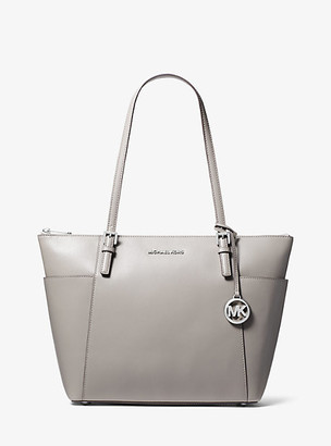 MICHAEL Michael Kors MK Jet Set Large Saffiano Leather Top-Zip Tote Bag - Pearl Grey - Michael Kors