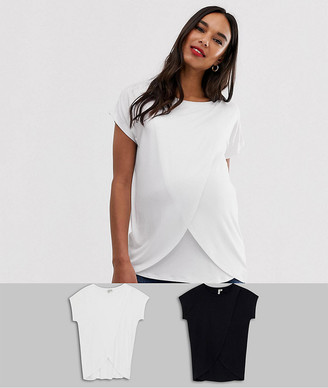Asos Maternity   Nursing ASOS DESIGN Maternity nursing 2 pack t-shirt in black and white