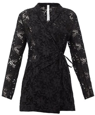 Merlette New York Zahara Double-breasted Broderie-anglaise Jacket - Black