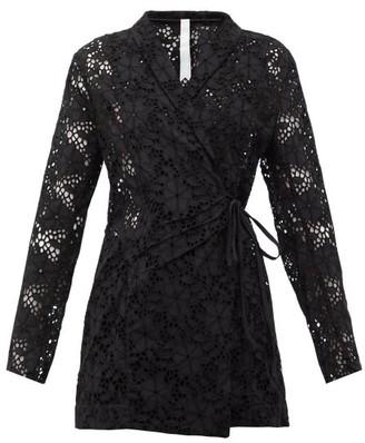 Merlette New York Zahara Double-breasted Cotton-eyelet Jacket - Womens - Black