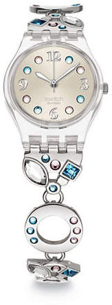 Swatch Stainless Steel Watch with Swarovski Crystals