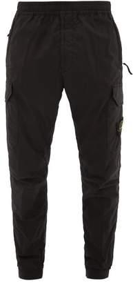Stone Island Logo-patch Garment-dyed Shell Track Pants - Mens - Black